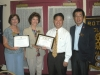 wk4  New Rotarian  Sam Kim, with President Christiane Salts, President Elect Beth Swift, and Sponsor