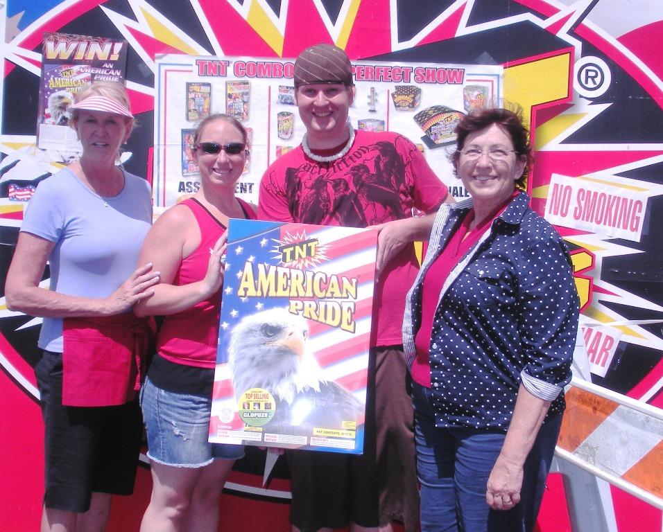 Diane Scheerhorn and Beth Swift with our winner Mr. & Mrs Mike Fierheller.JPG