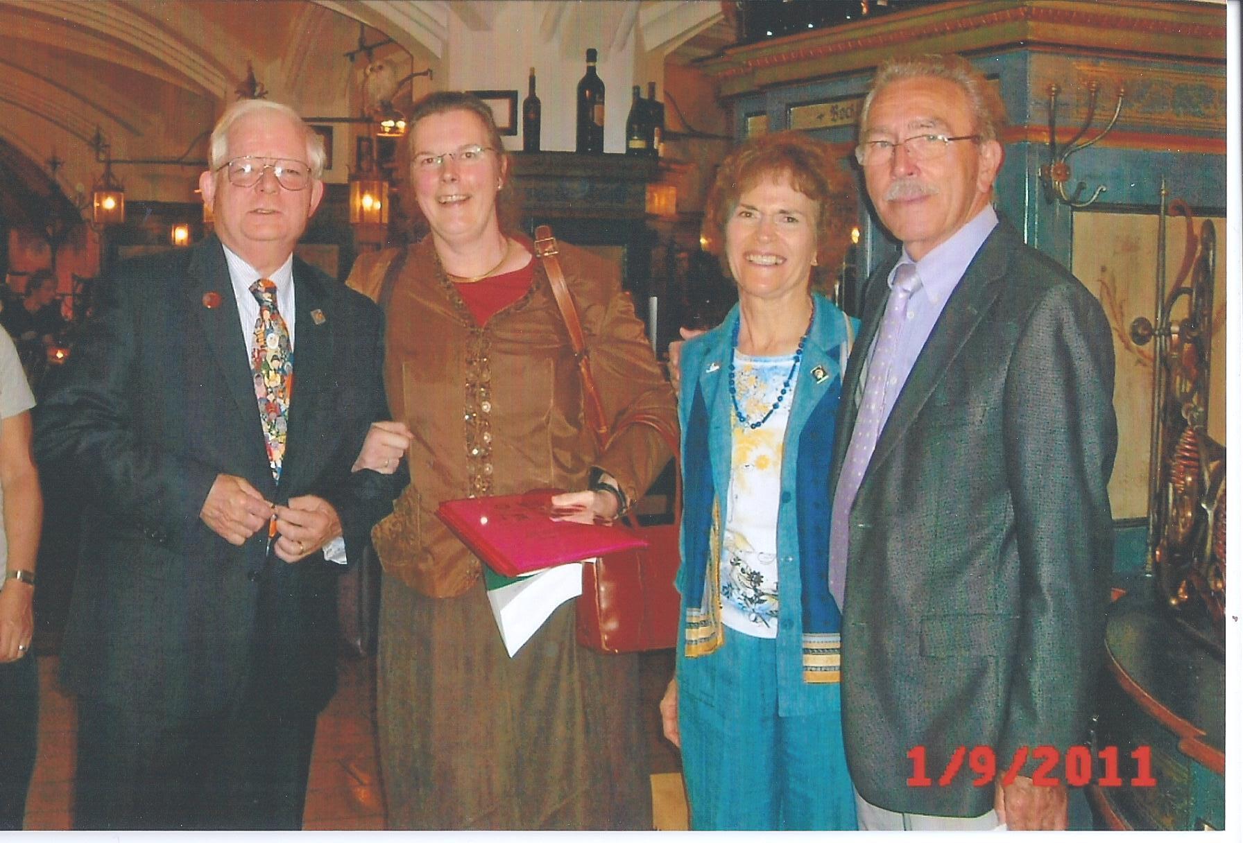 At Munich Rotary Club Dennis Salts, Gabriela Bracklo, Christiane Salts, Adam Fritz.jpg