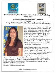 2013.04 10  Elizabeth Saldano visits TS Rotary